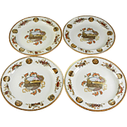 Set of 4 Aesthetic Japonisme Brown Transferware / Polychrome Wedgwood Plates
