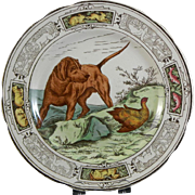 English Victorian Brown / Polychrome Transferware Plate - Dog & Animals 1870
