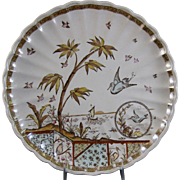 Large Aesthetic Movement Brown / Polychrome Transferware Fluted Serving Plate / Charger ca. 1883