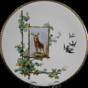 Victorian Brown / Polychrome Transferware Cabinet Plate - Buck ca. 1879