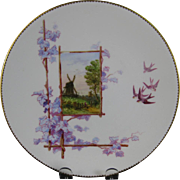 Victorian Brown / Polychrome Transferware Cabinet Plate - Windmill & Birds ca. 1879