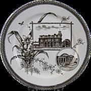 Aesthetic Brown Transferware Plate - Toronto & Boston ca. 1884