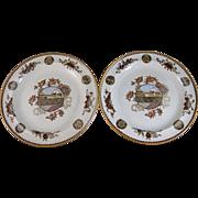 Pair Aesthetic Japonisme Brown Transferware / Polychrome Wedgwood Plates - 1882