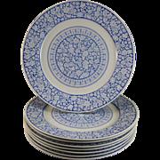 Set / 8 English Victorian Transferware Plates  - Saragossa 1883