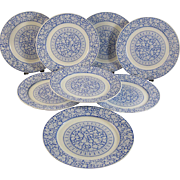 Set / 8 English Victorian Transferware Plates  - Saragossa 1883