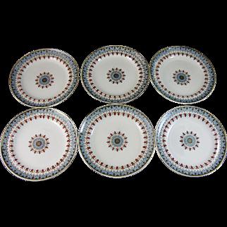 Set/6 English Victorian Transferware Plates - Copeland Denmark 1880