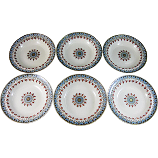 Set/6 English Victorian Transferware Bowls / Soup Plates - Copeland Denmark 1881