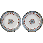 Pair English Victorian Transferware Plates - Copeland Denmark 1880 / 1881