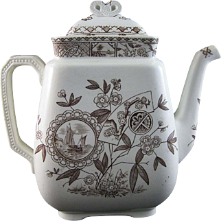 Large Immaculate Aesthetic Brown Transferware Coffee Pot 1800s