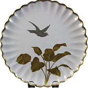 Aesthetic English Gold & Silver Encrusted Cabinet Plates - Birds 1886