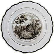 Historical Brown Transferware Staffordshire Plate - ca. 1828-41