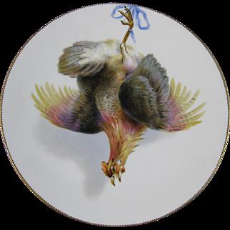 English Victorian Cabinet Plate - Game Bird - Hamburgh Hen