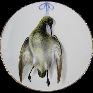English Victorian Cabinet Plate - Game Bird - Snipe