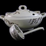 Large Victorian Brown Transferware Soup Tureen w/ Original Ladle 1886