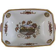 Aesthetic Movement Japonisme Brown Transferware / Polychrome Wedgwood Serving Dish ca. 1883