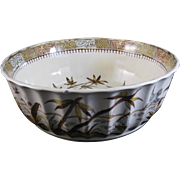 Aesthetic Movement Brown / Polychrome Transferware Bowl -Tonquin 1883