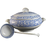 Large English Victorian Transferware Tureen with Original Ladle Shells - Saragossa 1883