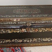 Camphor wood chest. Paint decorated camphor wood chest.
