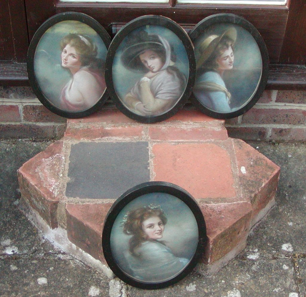 Four ladies painted portraits..Set of four portraits..