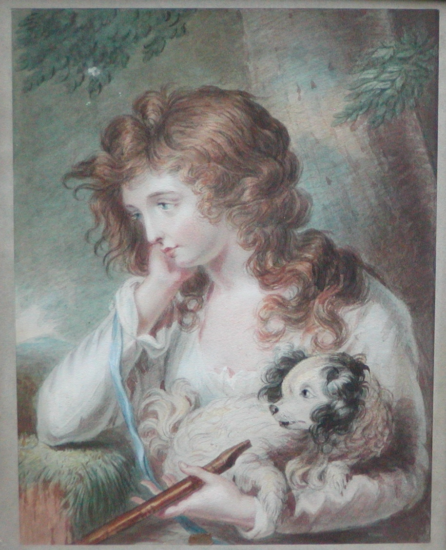 Painting of a Spaniel dog, girl & musical instrument...Dog painting...