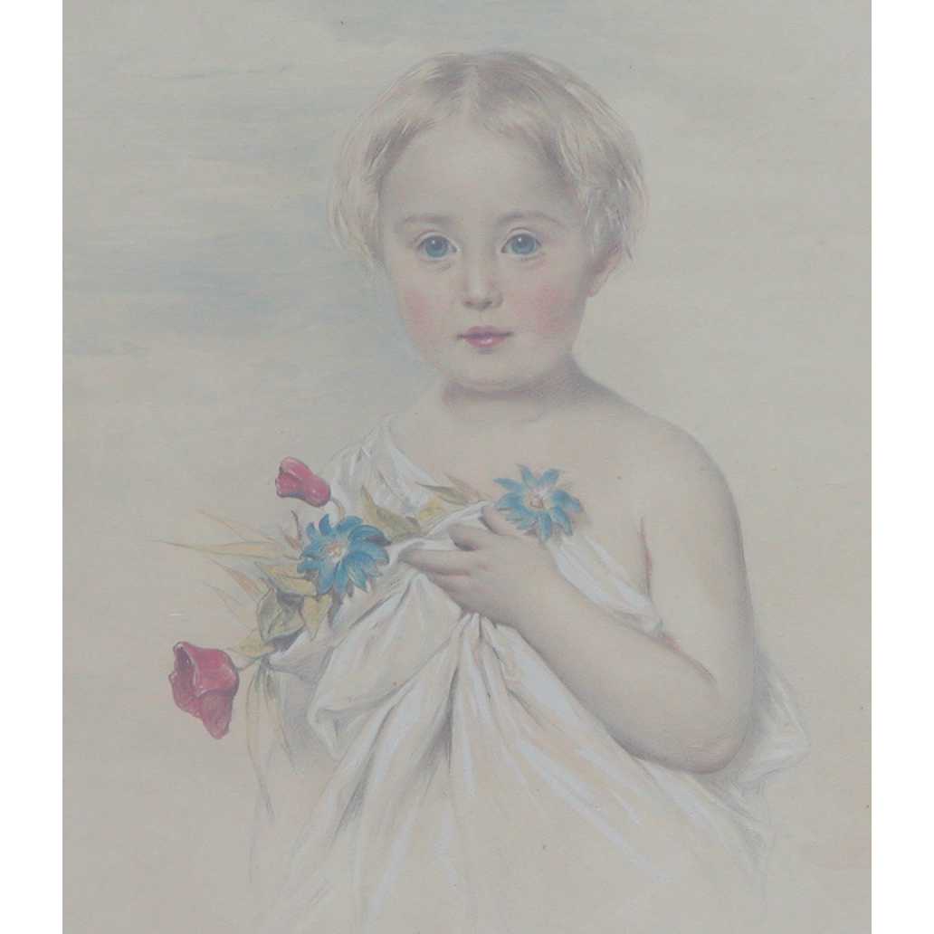 Painting of girl holding flowers...Antique w/c painting....