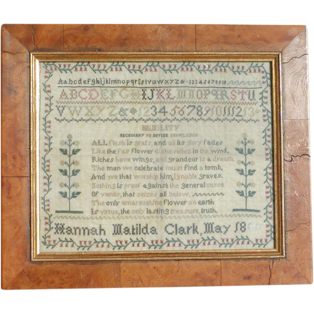 Sampler...Needlework sampler 1800's...Antique sampler....