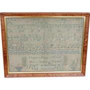 Needlework sampler 1839...Antique sampler...