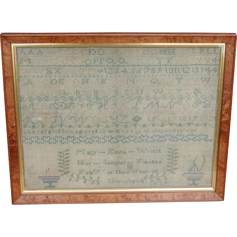 Needlework sampler 1839...Antique sampler...
