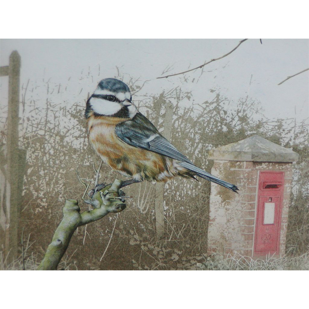 Bird painting...Bluetit watercolor...Painting of a bird...