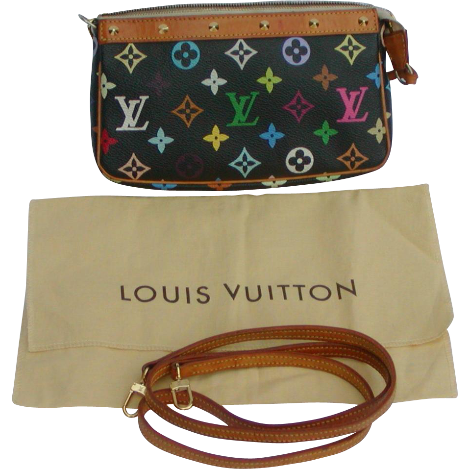 Louis Vuitton pouchette bag...Louis Vuitton Multi colored monogram pouchette bag...