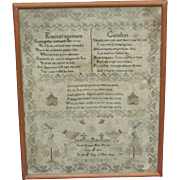 Sampler...Needlework sampler...Antique sampler 1815...