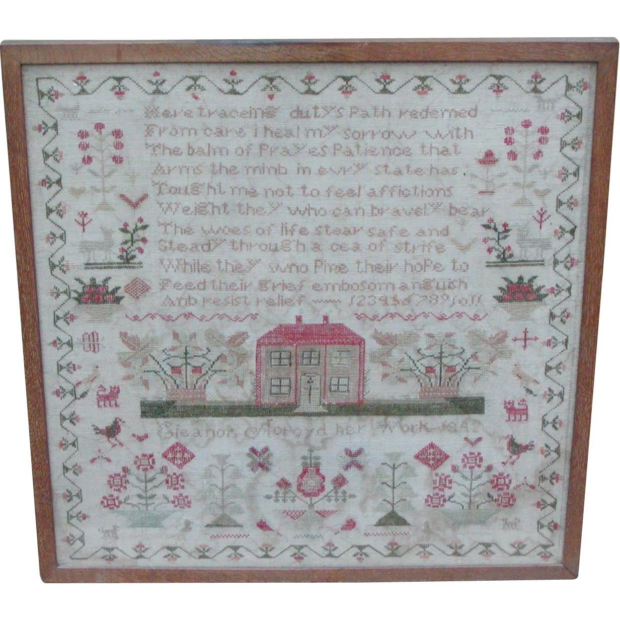 Sampler...Needlework sampler...Antique sampler 1842...
