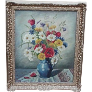Wild flowers oil painting...Still life oil painting of poppies, corn flowers etc....