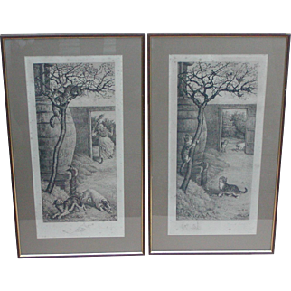 Cat and dog prints...Pair engraved prints of cats and dogs...