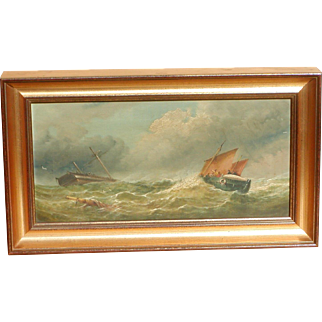 Marine oil painting...Painting of ships...19th. Century painting of ships...
