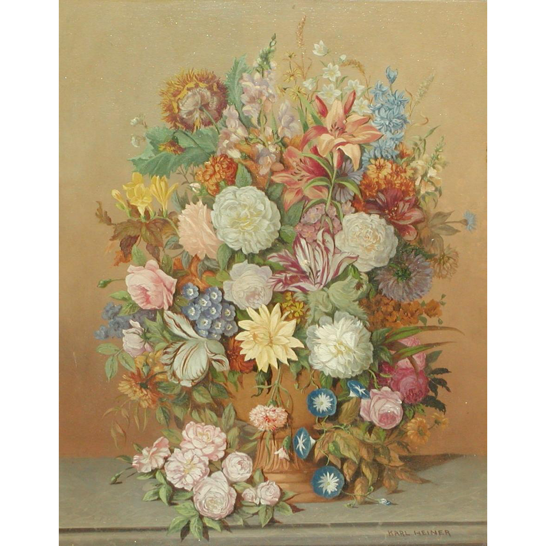 Still life painting...Flowers painting...Karl Heiner painting...