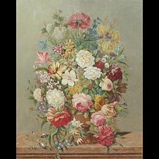Flowers painting...Still life painting of flowers...Karl Heiner painting...