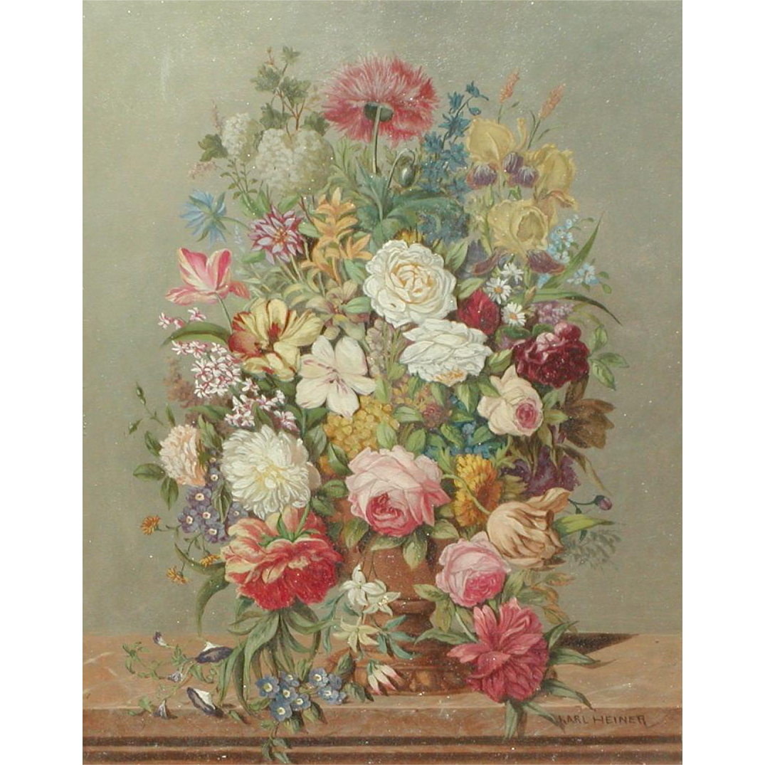 Flowers painting...Still life painting of flowers...Karl Heiner painting...