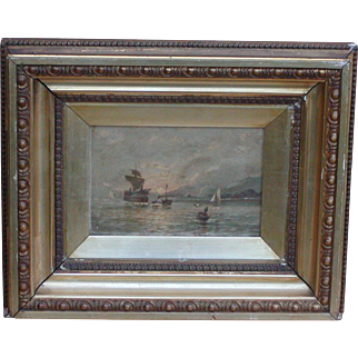 Oil painting of boats...Antique painting...Paddle steamer...