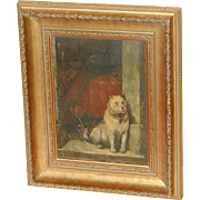 Painting of a dog...Antique painting of a dog...Dog painting...