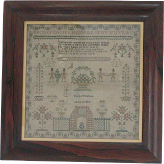 Sampler...Needlework sampler dated 1836...Antique sampler...