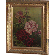Roses...Oil painting of roses...Vintage painting of roses...
