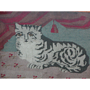 Cat...Needlework picture of a cat...Embroidered cat...