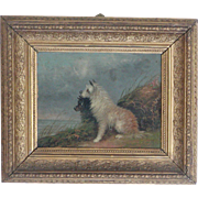 Dog painting...Terrier dog painting...Victorian dog painting... - Red Tag Sale Item
