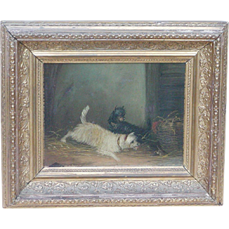 Dog painting...Terrier dog painting...Victorian dog painting...