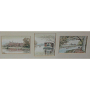 Watercolor painting of River Thames scenes around London....