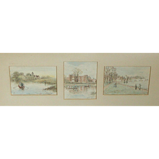 Watercolor painting of River Thames scenes around London