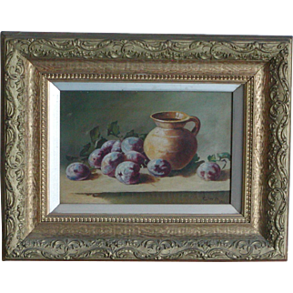 Still life...Painting of plums...