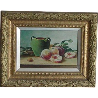 Still life...Painting of peaches...
