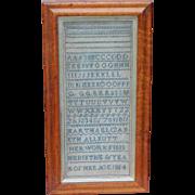Sampler...Alphabet sampler...Needlework sampler dated 1854...